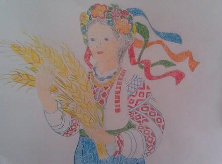 Нажмите на изображение для увеличения Название: Девушка с колосьями  - детский рисунок.jpg Просмотры: 430 Размер:56.2 Кб ID:21147