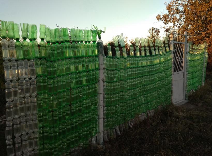 Название: Ограда из пластиковых бутылок.jpg Просмотры: 687  Размер: 177.9 Кб