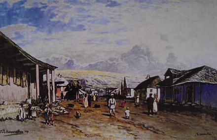 Нажмите на изображение для увеличения Название: Улица в Каменке. 1890 г. Художник Т. Экинбрехер.jpg Просмотры: 759 Размер:54.2 Кб ID:16191